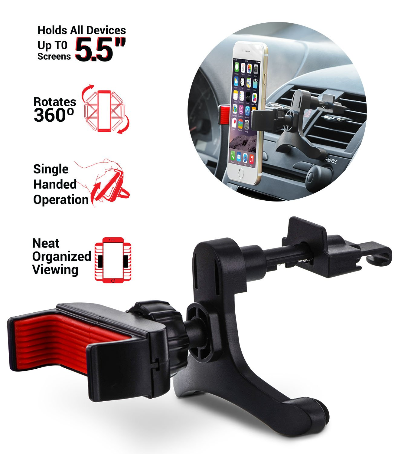 Grip Mount Works with All Mobile Phones One Handed Operation, Strong Grip UNI-SPH01-TVM Aduro U-Grip Smartphone Car Mount, 360 Rotation Black//Red Air Vent