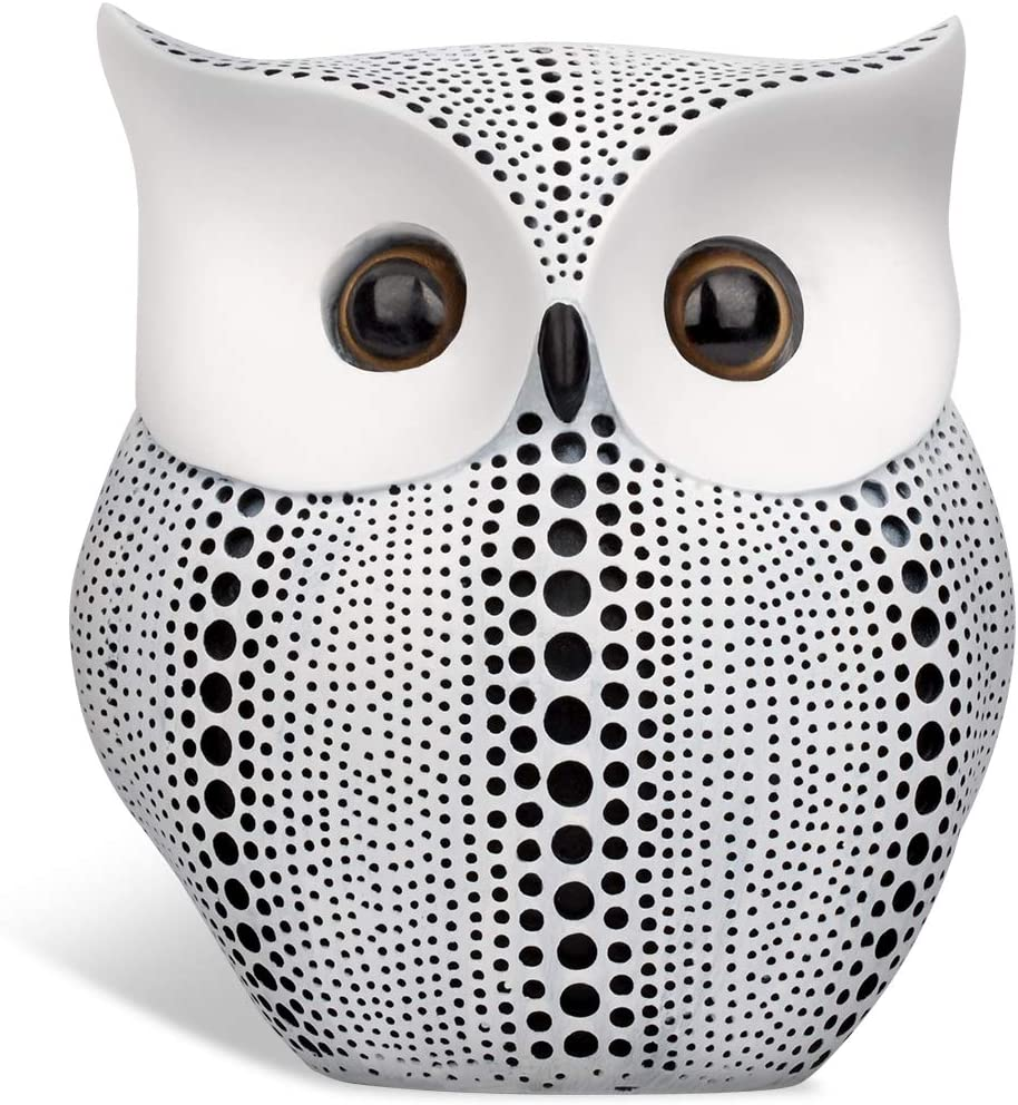 Owl Statue Home Decor (White), Cute Buho Owls Figurines For Unique Home Decorations, Living Room Decorations, Office Decor, Small Decor Items For Shelf,Bookself TV Stand Decor,Owl Gifts For Owl Lovers
