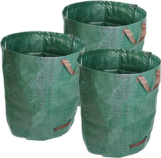 ValueHall desechos de jardín Sacos 3 Sacos de jardín Profesional Tejido Polipropileno Robusto al Agua con asa Resistente Plegables y Reutilizables Bolsas de Jardín Premiums V7070 (72 GAL): Amazon.es: Jardín
