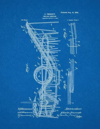 Amazon roller coaster patent print art poster blueprint 85 x roller coaster patent print art poster blueprint 85quot malvernweather Image collections