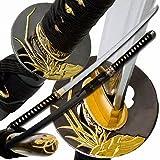 "Makoto Hand Forged Razor Sharp 40"" Black Samurai Katana Sword - Golden Orchid Tsuba"