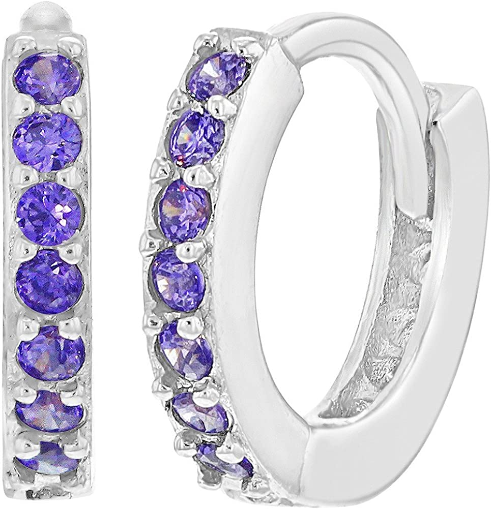 925 Sterling Silver CZ Small Hoop Huggie Earrings for Girls Teens