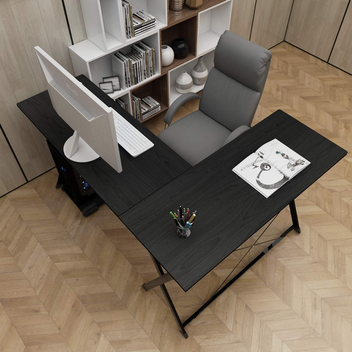 Black SogesHome L-Shaped Desk 62'' Computer Desk L Desk Computer Table Workstation, White Oak ZJ1-MO-HCA