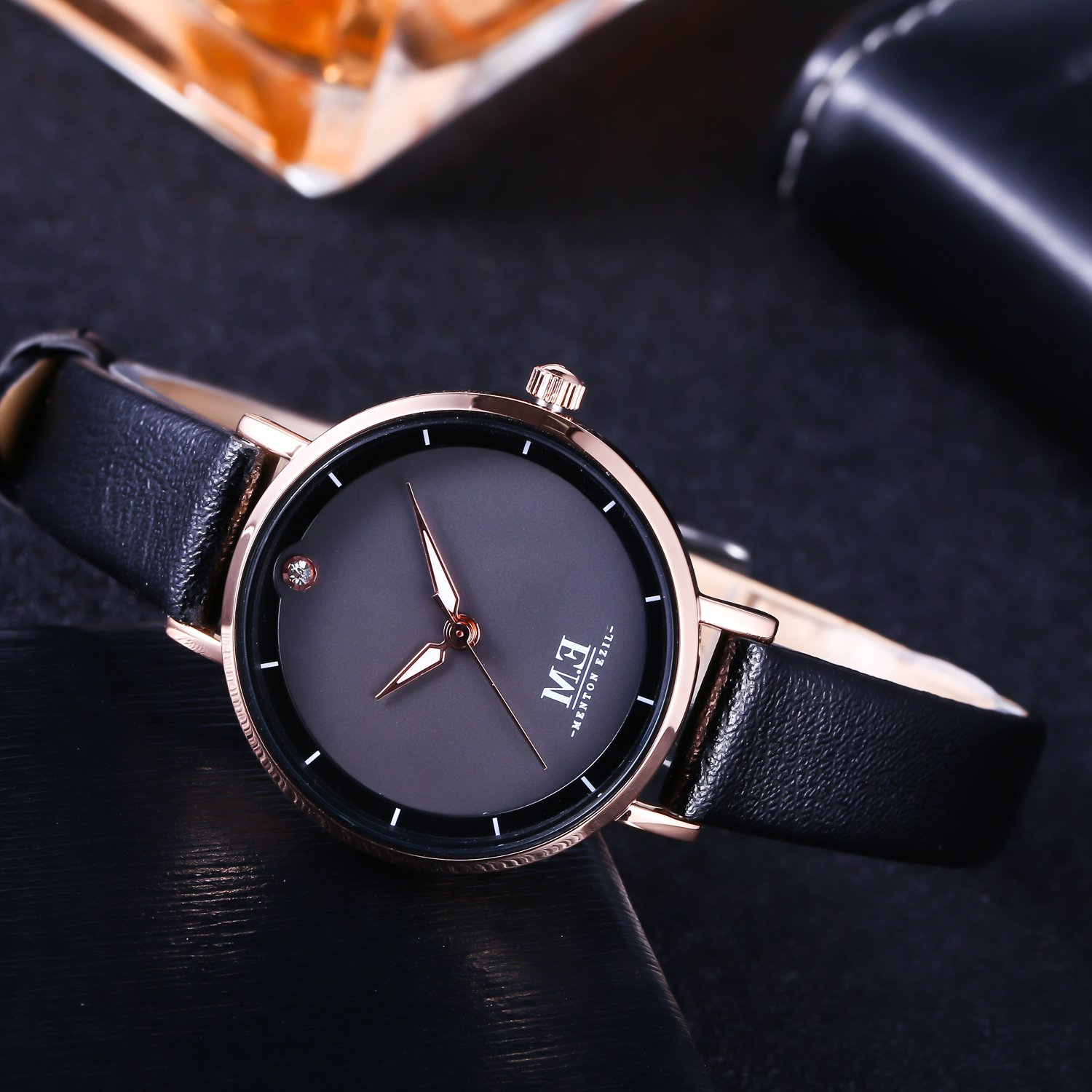 Amazon.com: Women Mini Wrist Watch Black Leather Strap Quartz Movement by M.E, Simple and Classic, Waterproof: M.E: Watches