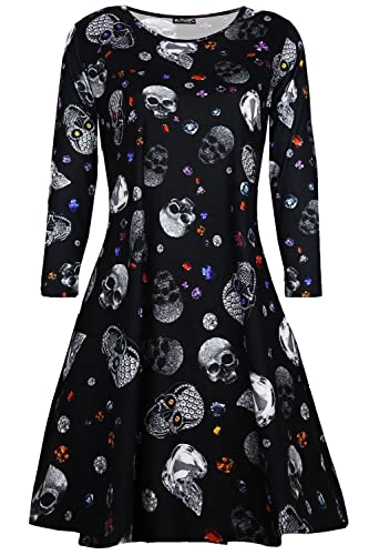 BE Jealous Donna Costume Halloween SKULL GIOIELLI spaventosa ZUCCA PARTY GREMBIULE Donna Vestitino s...