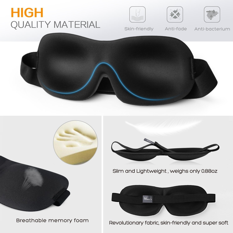 Agr/éable /à porter sans pression sur les yeux Profilage 3D Coloris/: noir Masque de sommeil Haari Pour dormir dans une obscurit/é totale Pour homme et femme