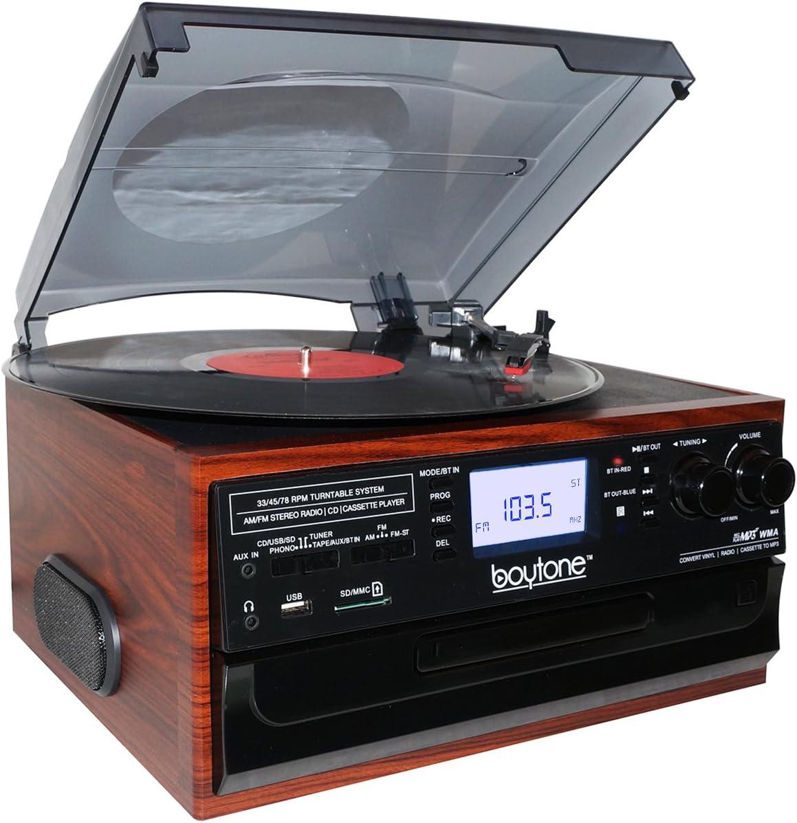Boytone BT-22M, Bluetooth Record Player Turntable, AM/FM Radio, Cassette, CD Player, 2 built in speaker, Ability to convert Vinyl, Radio, Cassette, CD ...