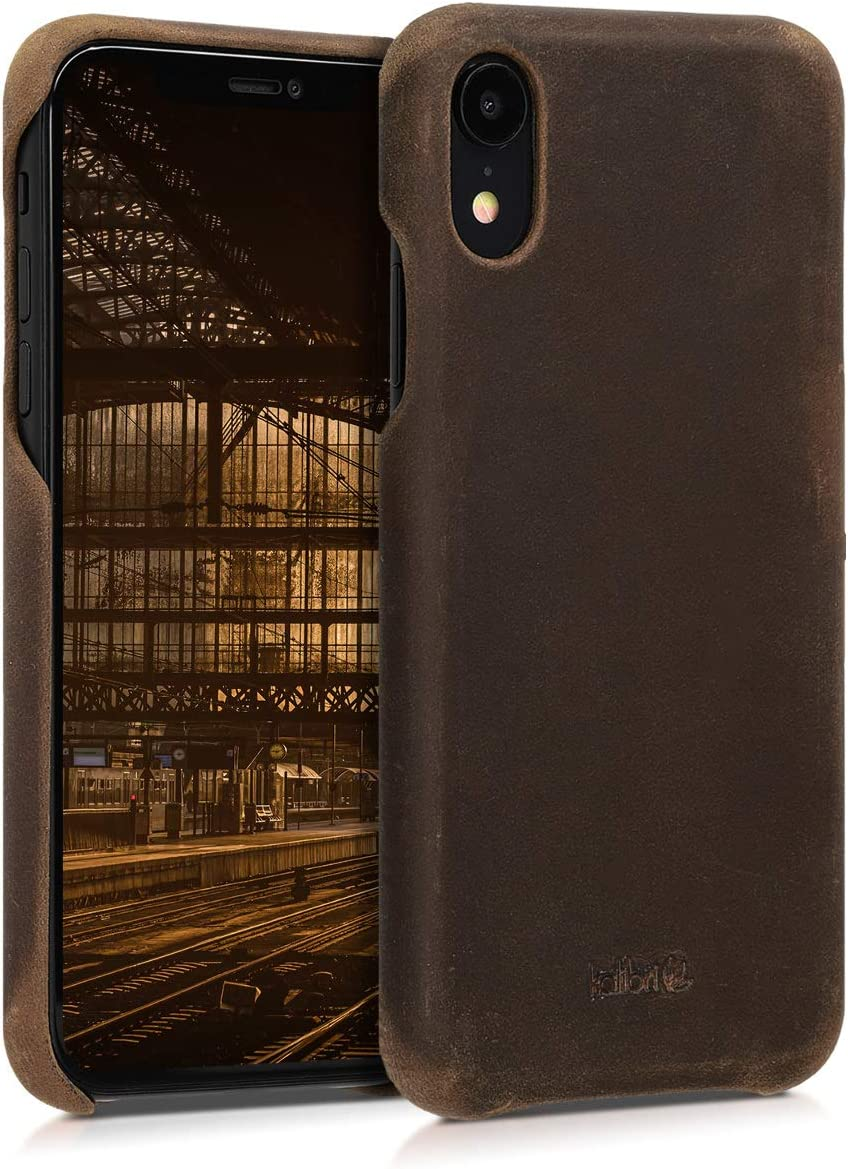 kalibri Case Compatible with Apple iPhone XR - Smooth Genuine Leather Hard Case Anti Slip Back Cover - Brown