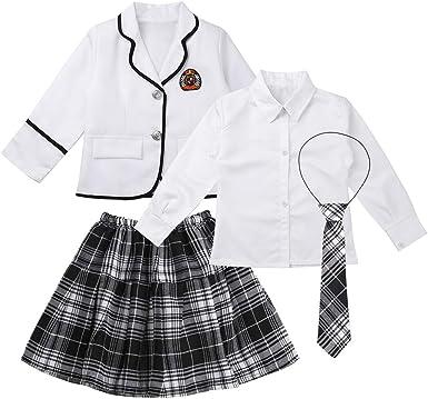 iiniim Conjunto de Uniforme Escolar Japones para Niña Chaqueta Manga Larga Botones Blusa Blanca Falda Plisada Corbata a Cuadros Ropa Otoño Invierno: Amazon.es: Ropa y accesorios
