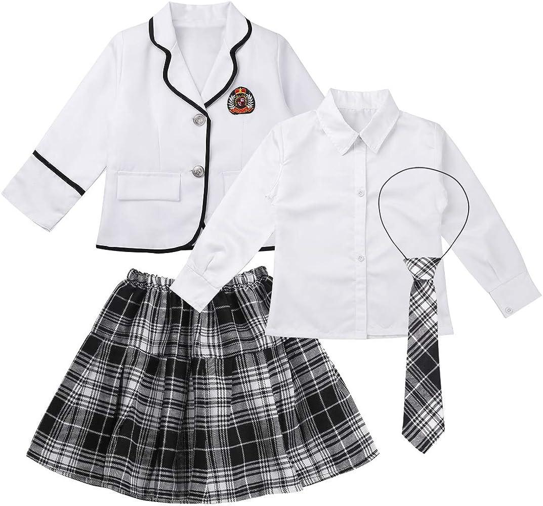 iiniim Uniforme Escolar Niño Niña Oxford Camisa Manga Larga Chaqueta Pantalones/Falda Plisada Corbata Traje de Graduación Coro Fiesta Blanco Niña 4-5 Años: Amazon.es: Ropa y accesorios