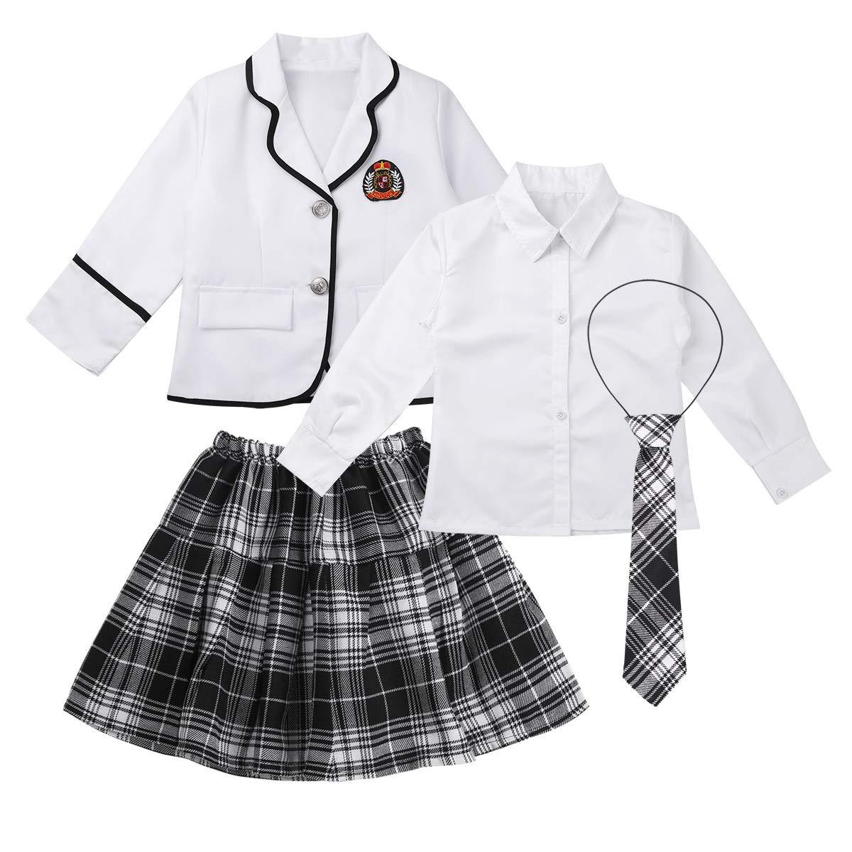 TiaoBug 4Pcs Uniforme Escolar Japon/és Coreano Brit/ánico Ni/ñas Muchachas Traje Conjunto Manga Larga Algod/ón Invierno Disfraz de Marinera Ni/ñas