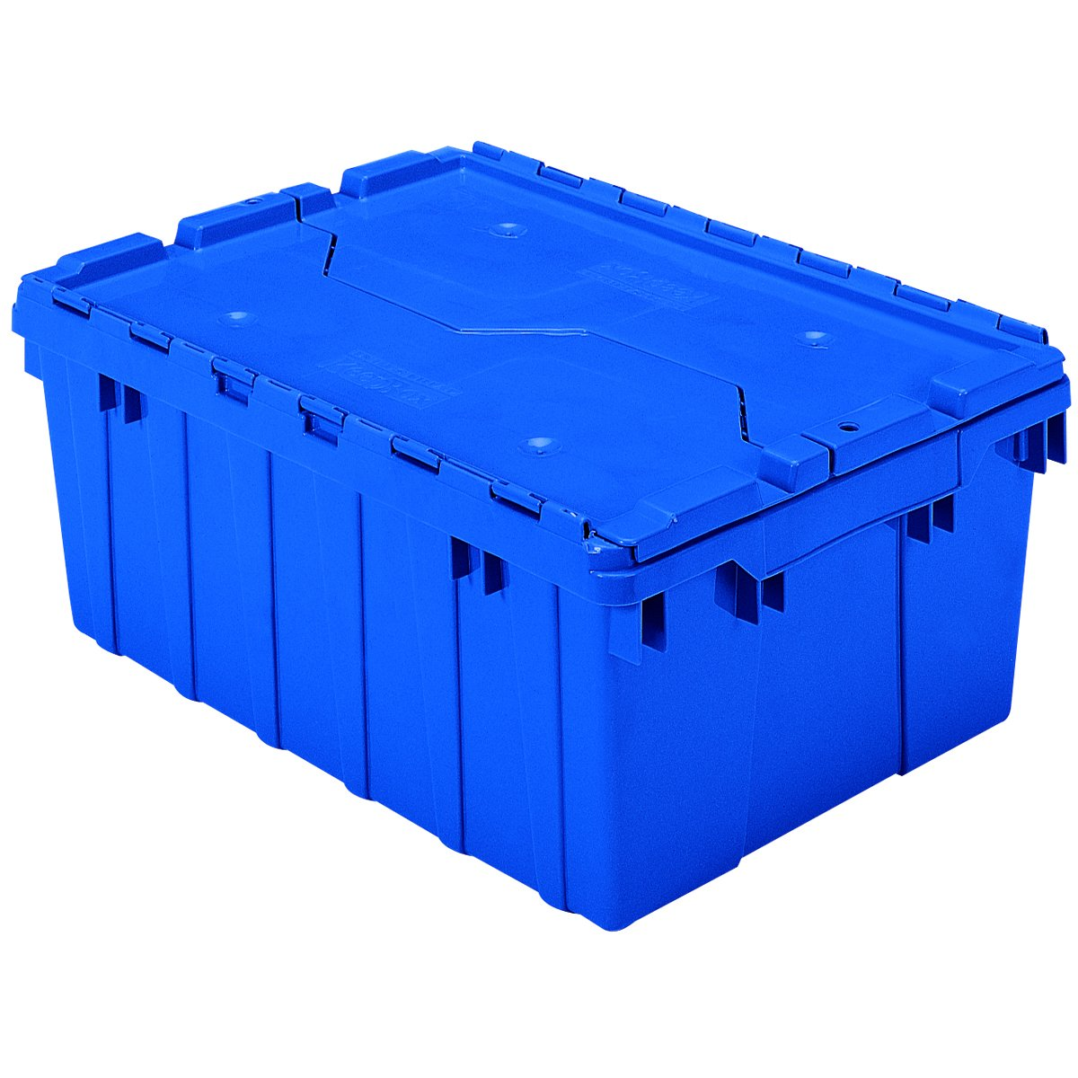 Akro-Mils 39085 Plastic Storage and Distribution Container Tote with Hinged Lid, 21.5-Inch L by 15-Inch W by 9-Inch H, Blue, Pack of 6