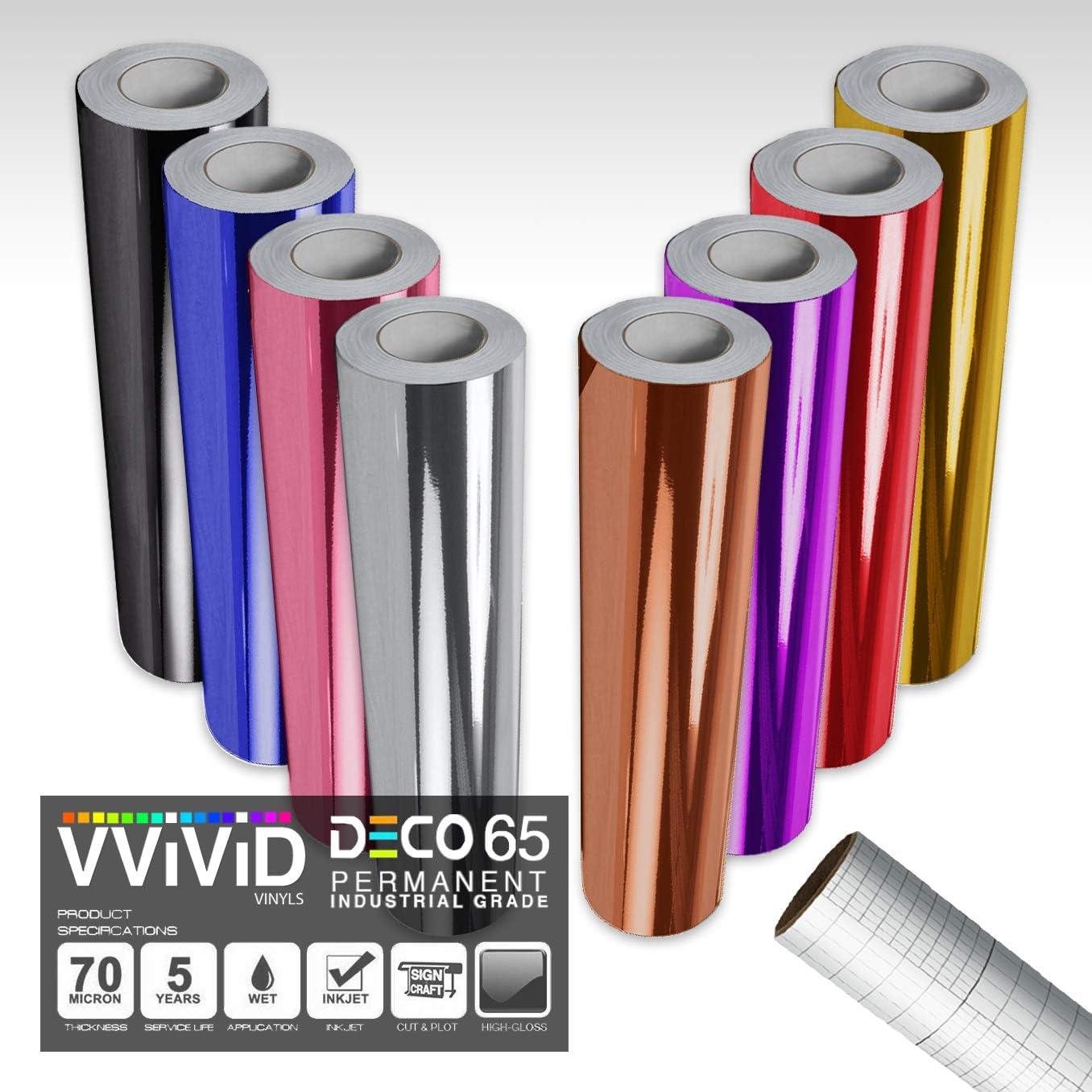 Silho VViViD Chrome Gold Gloss DECO65 Permanent Adhesive Craft Vinyl for Cricut