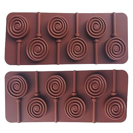 MINGZE 2 piezas molde de piruleta de silicona con 6 agujeros, rayos de cubo de