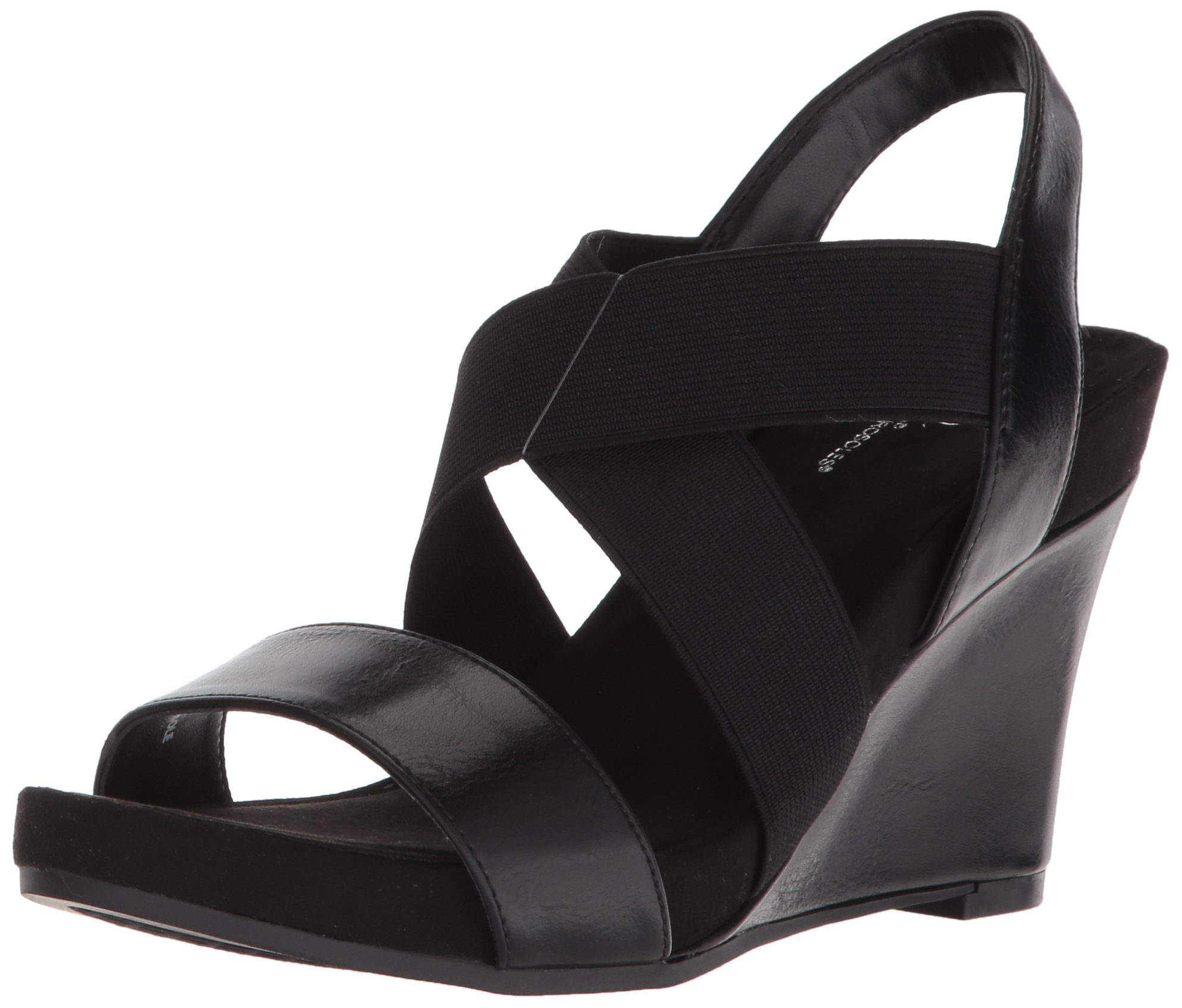 Aerosoles A2 Women's Lotus Plush Wedge Sandal, Black, 7.5 M US