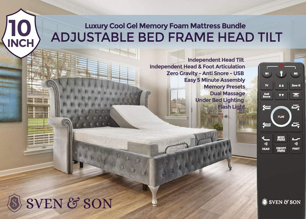"Split King Classic Head Tilt Interactive Dual Massage Wireless Sven /& Son Split King Adjustable Bed Base Frame Head /& Foot USB Ports Zero Gravity + 10/"" Luxury Cool Gel Memory Foam Mattress"