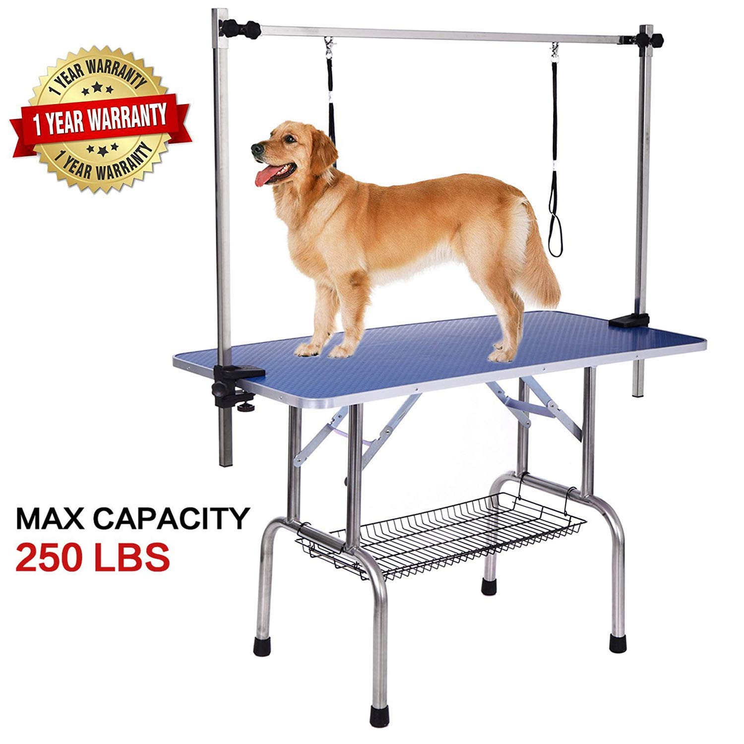 Heavy Duty Dog Pet Grooming Table Large Professional Adjustable with Arm & Noose & Mesh Tray, Maximum Capacity Up to 250LB, 46''/ Blue