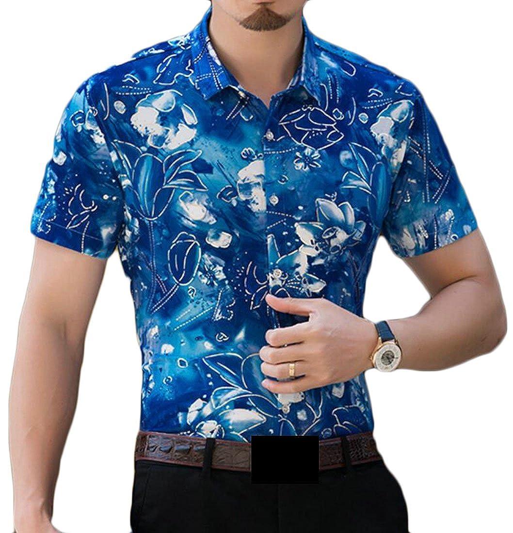 ea18e13c628 XiaoTianXin-men clothes XTX Men s Regular Fit Business Short Sleeve Hawaiian  Floral Print Plus Size Blouse Shirt Tops at Amazon Men s Clothing store
