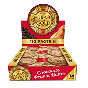 14 Count Snack Bars by Grab The Gold - Organic, Gluten Free, Vegan, Kosher, & Dairy Free - 11g of Protein – Chocolate Peanut Butter