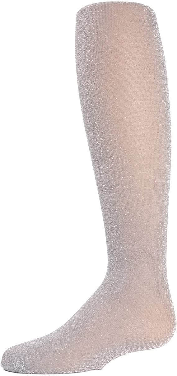 Sparkly Footed Diamond Tights Bling fits Ages 2 to 12 Metallic Black with Silver