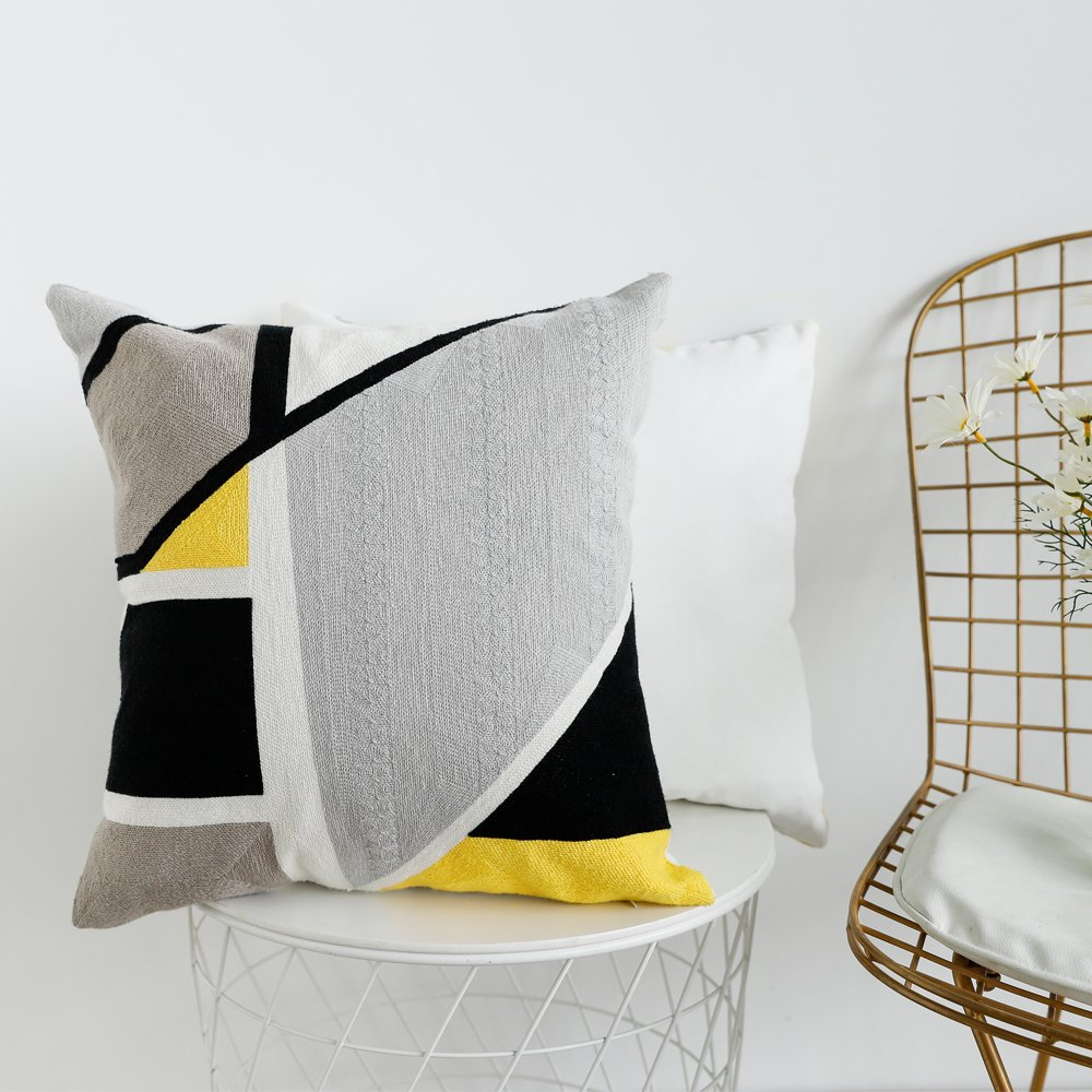Lananas Modern Decorative Throw Pillow Covers for Couch Geometric Home Cushion Pillow Cover for Bed 18'' x 18'' (Slash) by Lananas (Image #2)