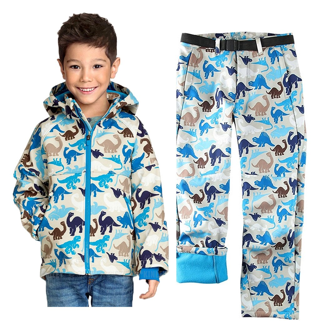 Kid Boys' 2 Piece Snowsuit Ski Hooded Jacket Snow Pant Set Beige Dinosaur 4-5 by Tortor 1Bacha