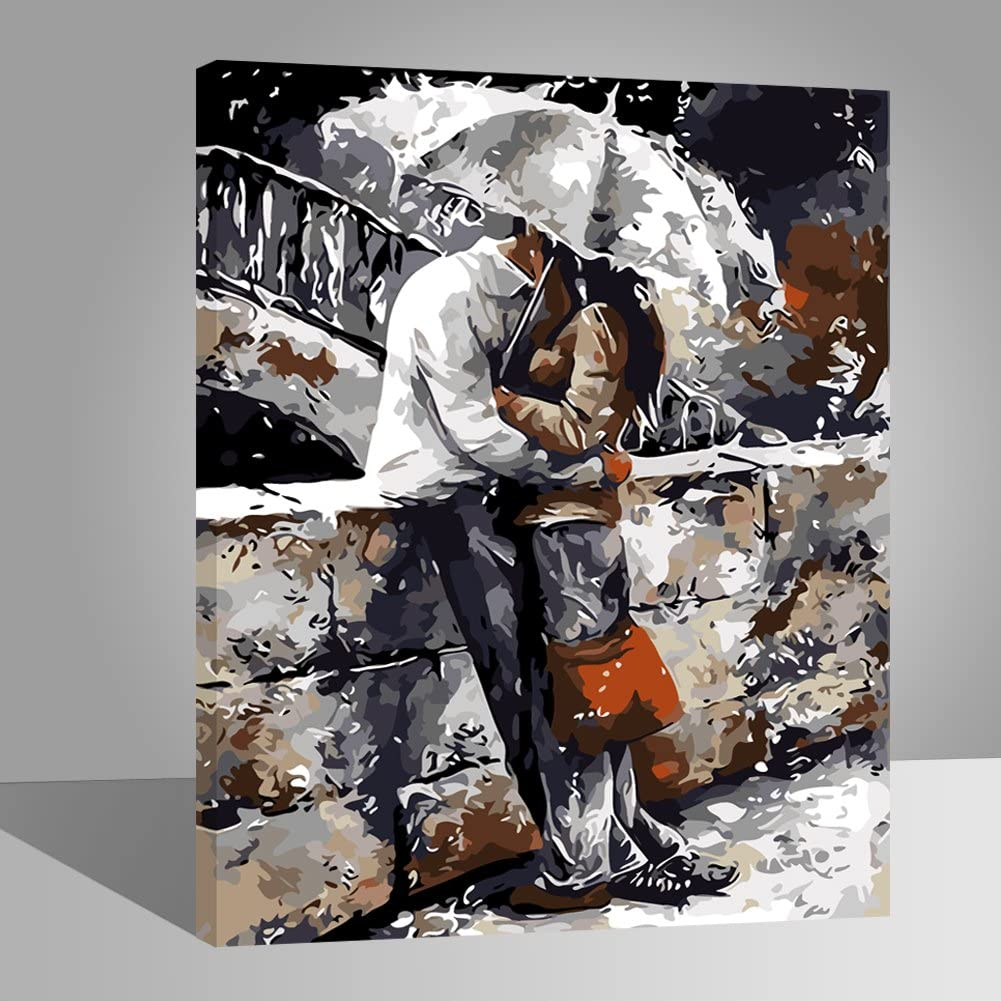 Dancing Lover LIUDAO Paint by Numbers Kits for Adults Kids 16x20 Inches Wooden Frame Oil Painting