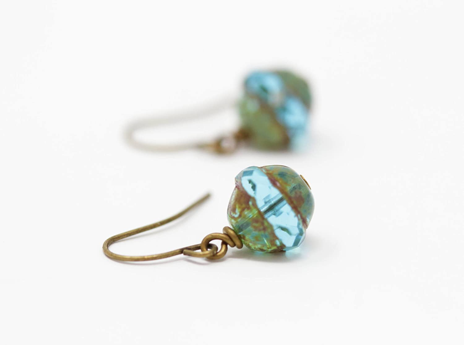 Aqua Green Glass Beaded Drop Earrings