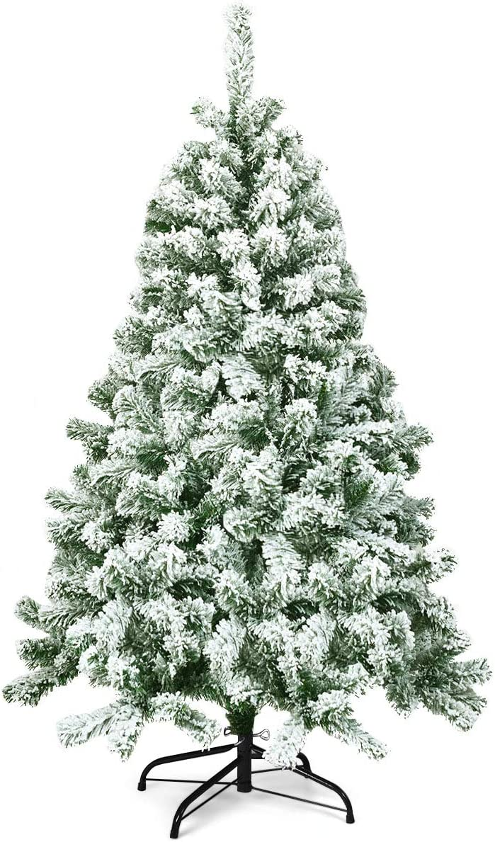 Goplus 4.5FT Snow Flocked Christmas Tree, Artificial Hinged Pine Tree with Premium PVC Needles & Solid Foldable Metal Stand, Unlit Xmas Tree for Home Outdoor Decoration