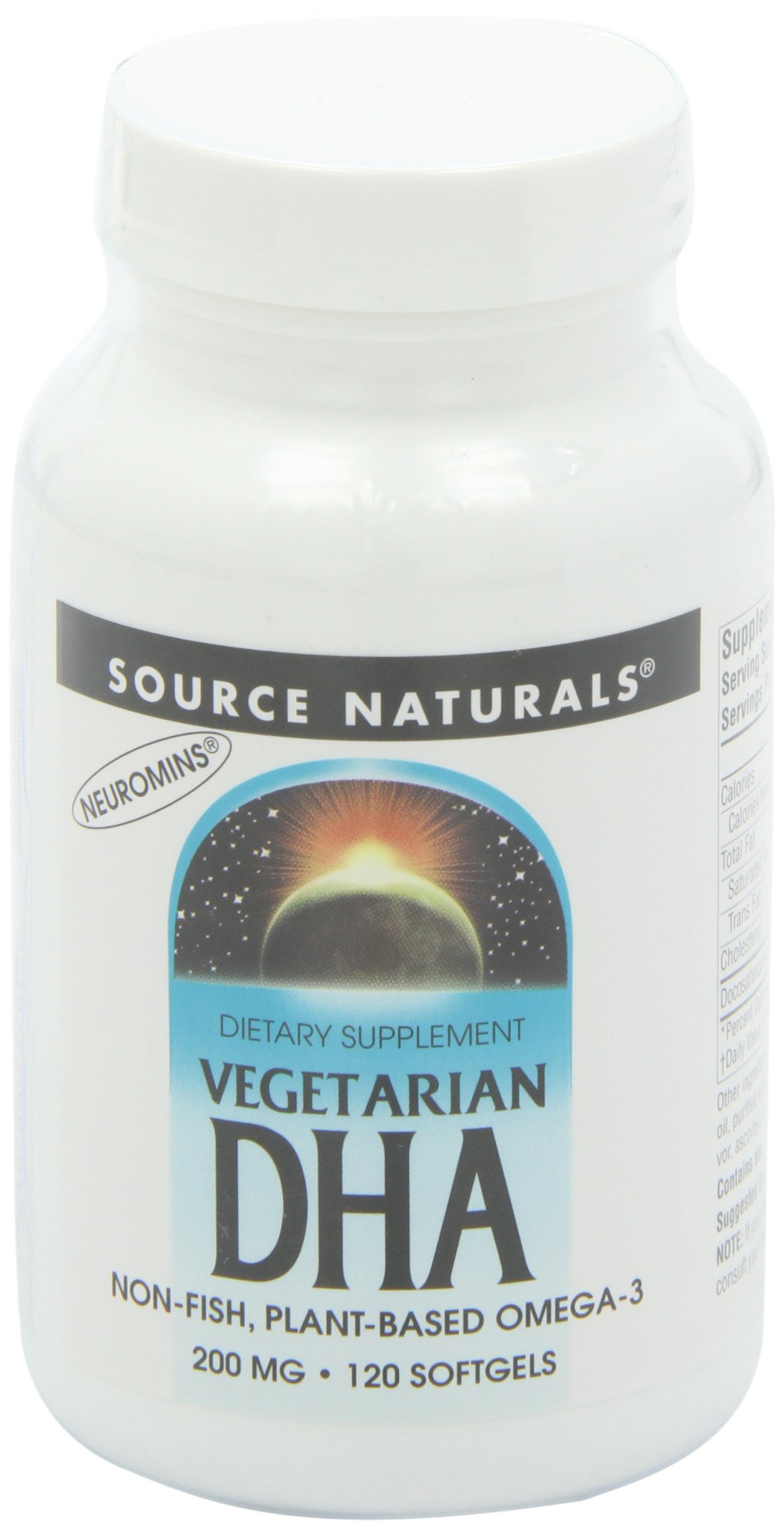 Source Naturals Vegetarian DHA with Neuromins, Non-Fish Plant-Based Omega-3, 120 SoftGels