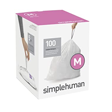 simplehuman 45 Liter / 12 Gallon, 100-Count Box Code M Custom Fit Liners, Drawstring Trash Bags, White, 100 Piece