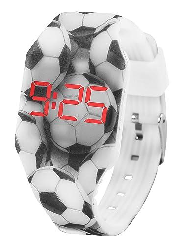 Reloj LED Digital Chico se Ilumina en la Oscuridad, Infantil y Joven, de Pulsera, Correa de Suave Silicona, Trendy Regalo, Futbol, Kiddus KI10216: ...
