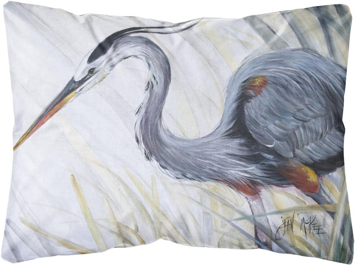 Caroline's Treasures JMK1017PW1216 Blue Heron Frog Hunting Canvas Fabric Decorative Pillow, 12H x16W, Multicolor