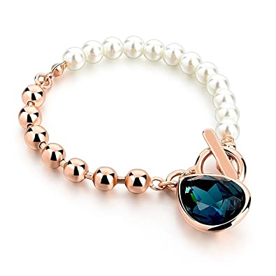 2cc1a1895ac Shining Diva Fashion Rose Gold Pearl Crystal Charm Bracelet for Girls and  Women
