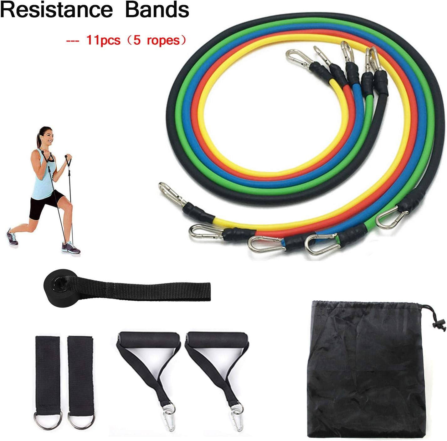 KEPEAK 11 Piezas Juego de Ejercicios, Bandas de Resistencia al Ejercicio, Entrenamiento de Resistencia para Yoga/Pilates, Equipo de Gimnasio para Hombres/Mujeres para Piernas/Glúteos