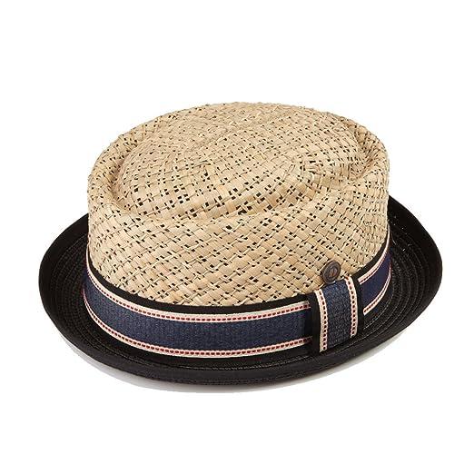 08fc154623b Dasmarca Mens Straw Summer Pork Pie Hat - Jake Natural Crown with Black  Brim S