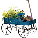 Fall Amish Wagon Decorative Indoor / Outdoor Garden Backyard Planter, Blue