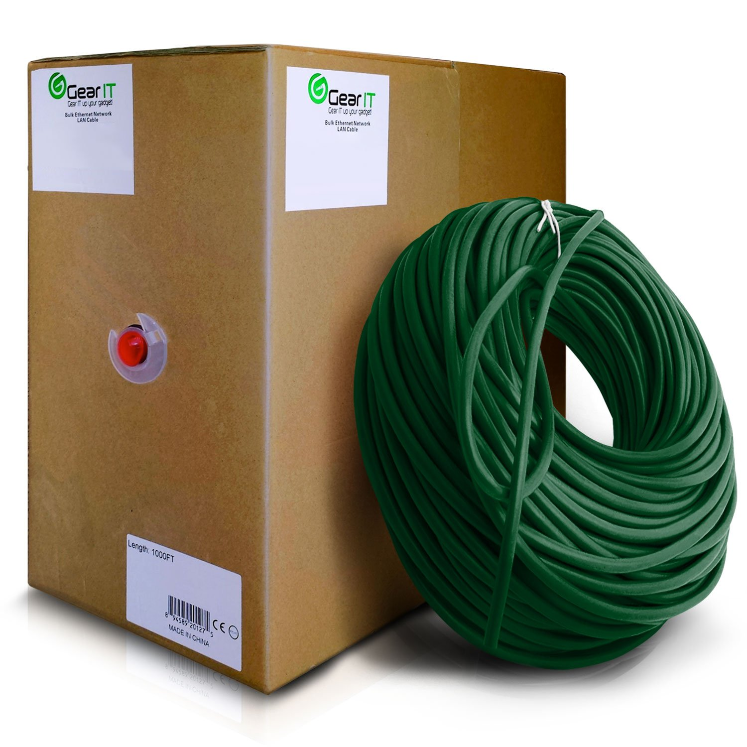 GearIT Cat5e Ethernet Cable Bulk 1000 Feet - Cat 5e 350Mhz 24AWG Full Copper Wire UTP Pull Box - In-Wall Rated (CM) Stranded Cat5e, Green