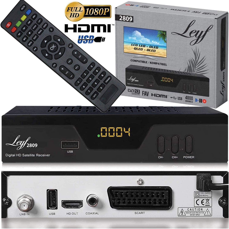 Leyf 2809 - Receptor de satélite digital (HDTV, DVB-S/S2, HDMI, euroconector, 2 puertos USB 2.0, Full HD 1080p) [preprogramado para Astra Hotbird ...