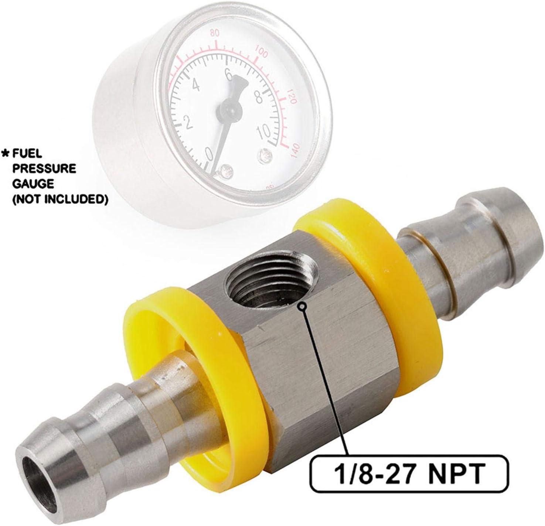 Stainless Steel Fuel Line Fuel Pressure Gauge Sensor T-Fitting Adapter 1//8-27 NPT Port for Fuel Pressure Gauge Sensor and 2 Hose Clamps 3//8 Inch T-Fitting Adapter Connector