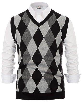 PaulJones Homme Pull Tricot Gilet Élégant Slim Fit Élastique Classique  Épais Taille S Noir e575d2c4ba52