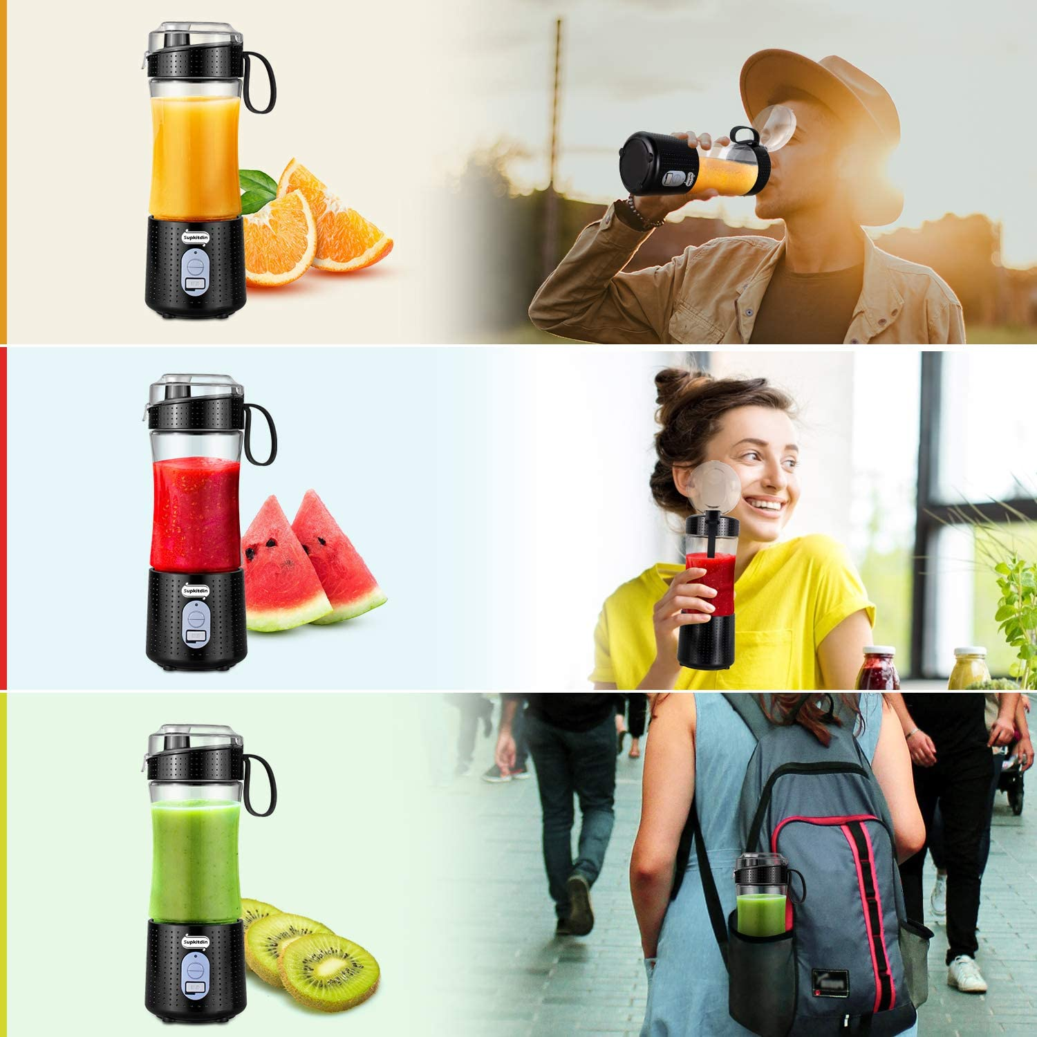 Supkitdin Portable Blender, Personal Mixer Fruit Rechargeable with USB, Mini Blender for Smoothie, Fruit Juice, Milk Shakes, 380ml, Six 3D Blades for Great Mixing (Black): Kitchen & Dining