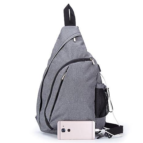 1401f8585a Amazon.com  TECHQ Sling Bag - Small Laptop Travel Backpack external USB  Charging Port (Grey)  Computers   Accessories