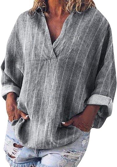 Camisas Mujer Tallas Grandes, ☆BuyO☆ Blusa Sueltas Casual Cuello En V Manga Larga Boho Floral Impreso Basic Tees Camiseta Túnica Camisa Mangas Largas para Mujer: Amazon.es: Ropa y accesorios