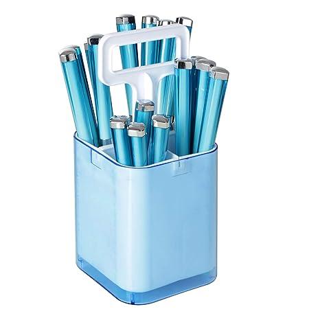 Cubertería de 17 cubiertos de acero inoxidable - 2 en 1: cubertero y escurridor (