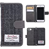 MONOJOY iPhone 7 Plus Flip Case Harris Tweed Wallet Case Leather Suede with Card Slot and Money Pouch, keyring, Magnetic closure for iPhone 7 plus, Stylish, Retro, Durable