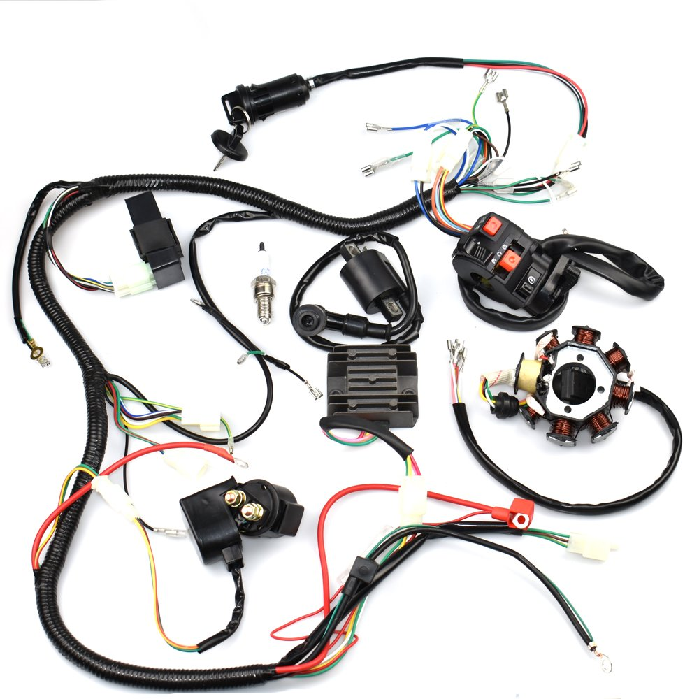Complete Wiring Harness Kit Wire Loom Electrics Stator Solenoid 150cc Go Kart Coil Cdi For Atv Quad 4 Four Wheelers 200cc 250cc Dirt Pit Bikes