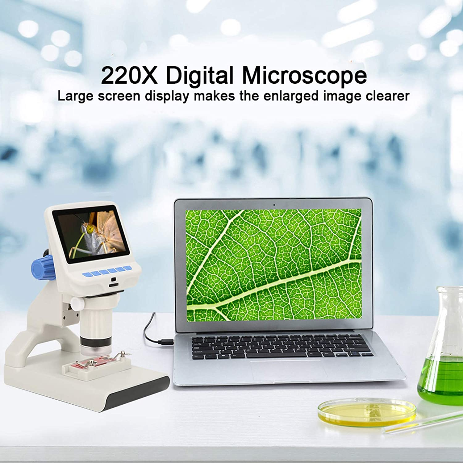 for Mobile Phone Motherboard Repair Welding with Large Screen Display Adjustable Stand Fafeicy AD102 220X 5V DC Digital Microscope HD