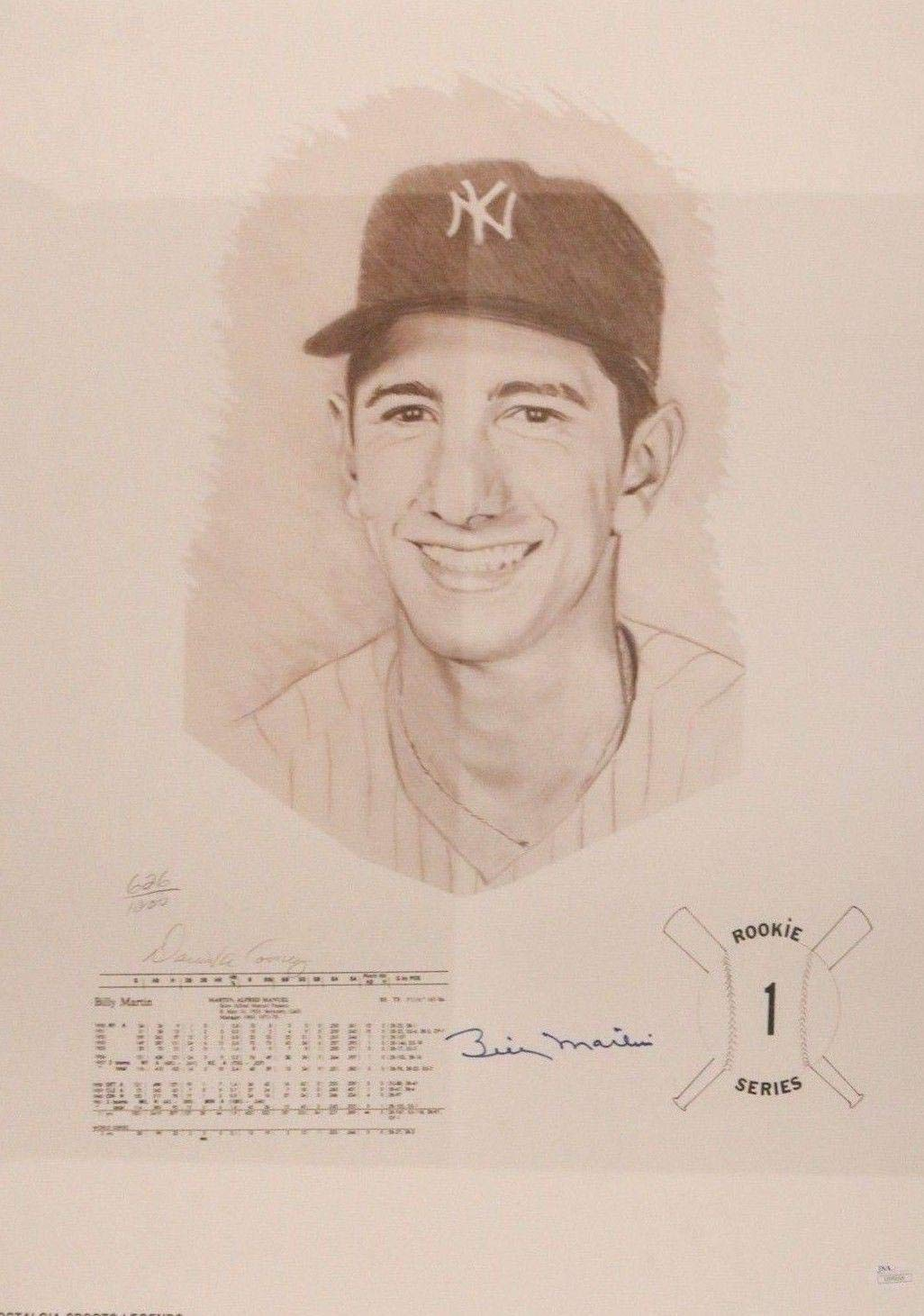 Billy Martin (d.1989) Yankees Signed Autographed Daniel Cooney 18x24 Litho JSA Certified Autographed MLB Art