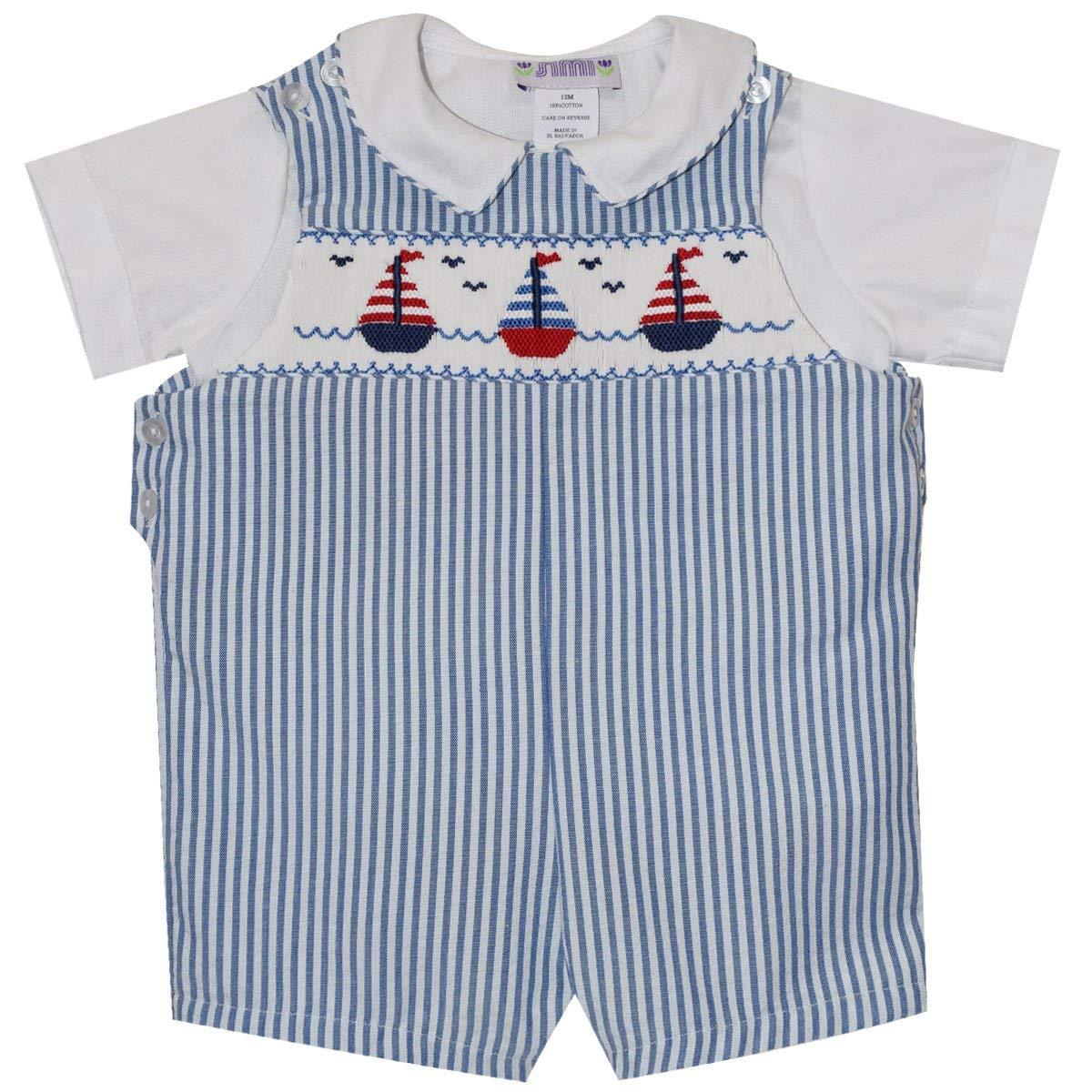 Sailboat Smocked Blue Stripe Shortall and Shirt